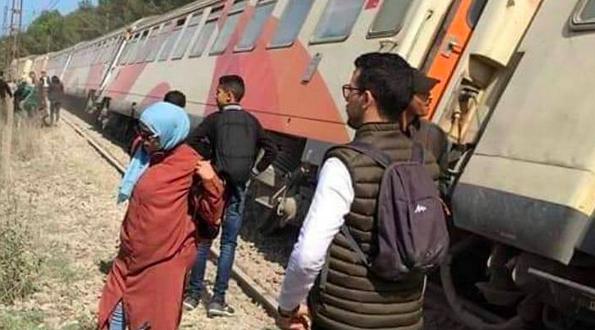 انحراف قطار عن سكته بالقرب من بوسكورة