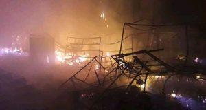 """حريق ضخم يلتهم سوق """"المرينة"""" بالقصر الكبير"""