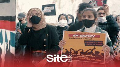 صورة طلبة المدرسة الوطنية العليا للفنون والمهن يحتجون بالشارع ويهددون بمقاطعة الامتحانات-فيديو