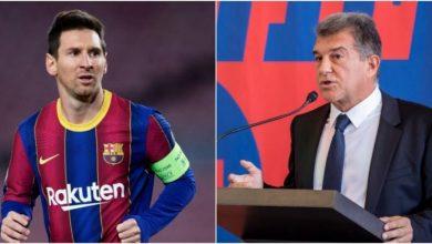 """صورة """"لابورتا"""" يُظهر ردة فعله الأولى بعد نهاية عقد ميسي مع برشلونة"""